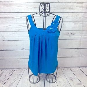 Express Bright Blue Flower Tank Top